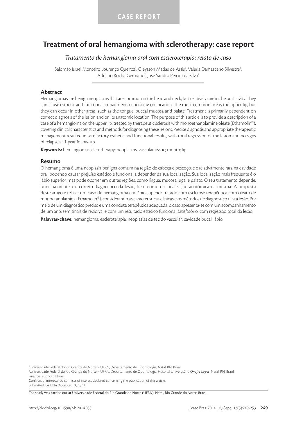 oral hemangioma or vascular malformation