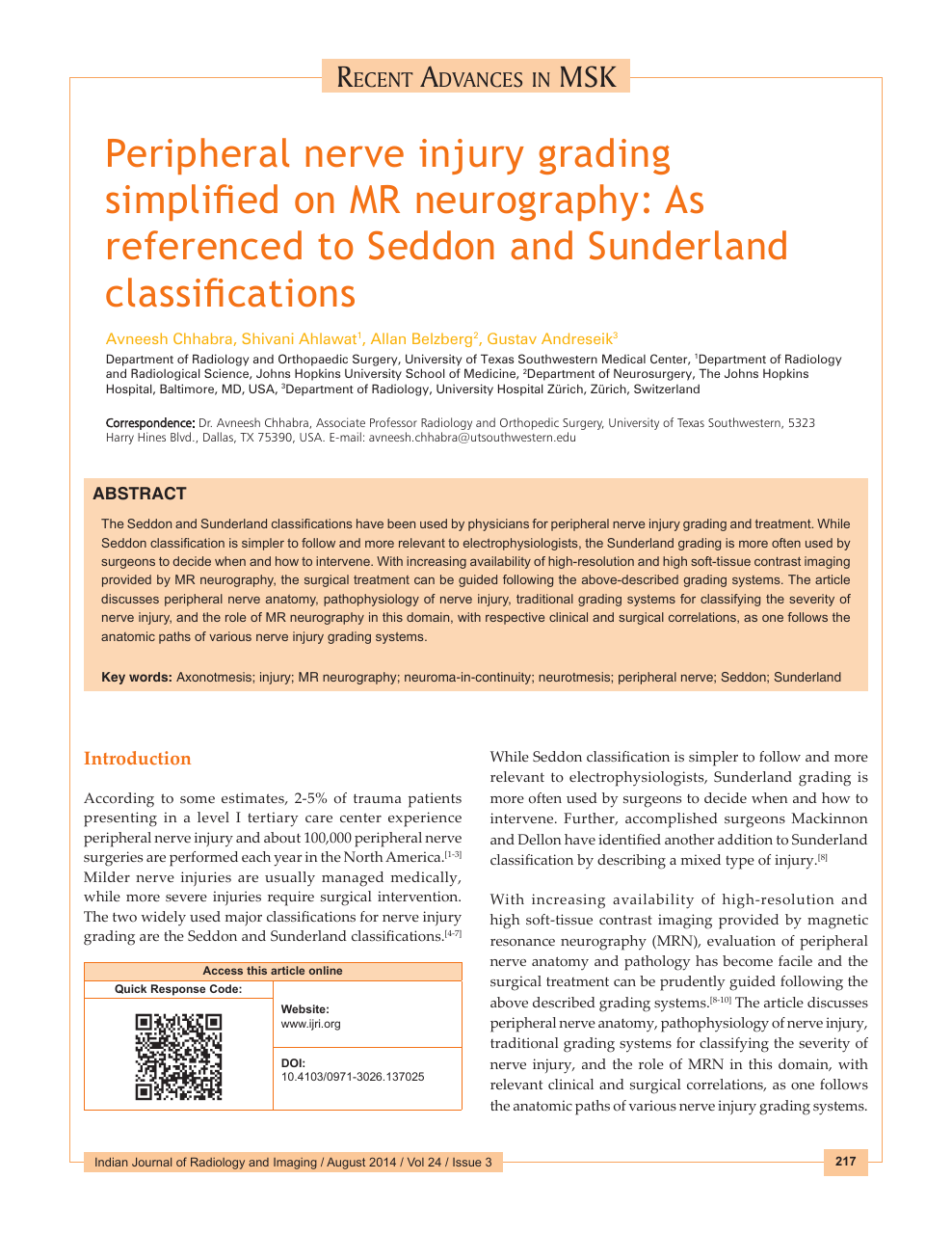 Peripheral nerve injury grading simplified on MR neurography: As