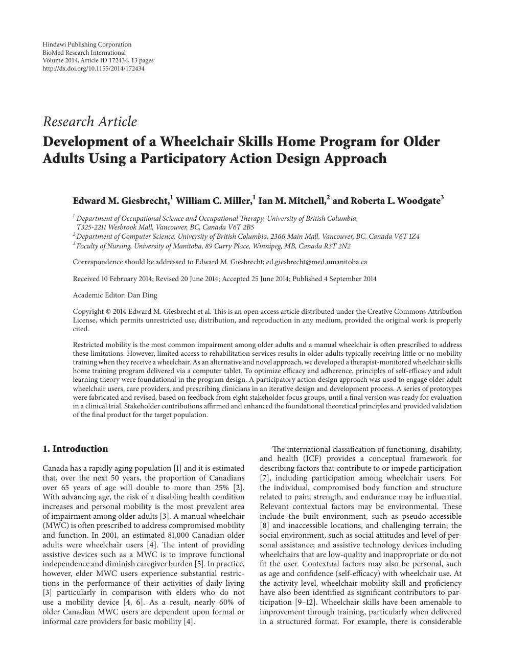 Development of a Wheelchair Skills Home Program for Older