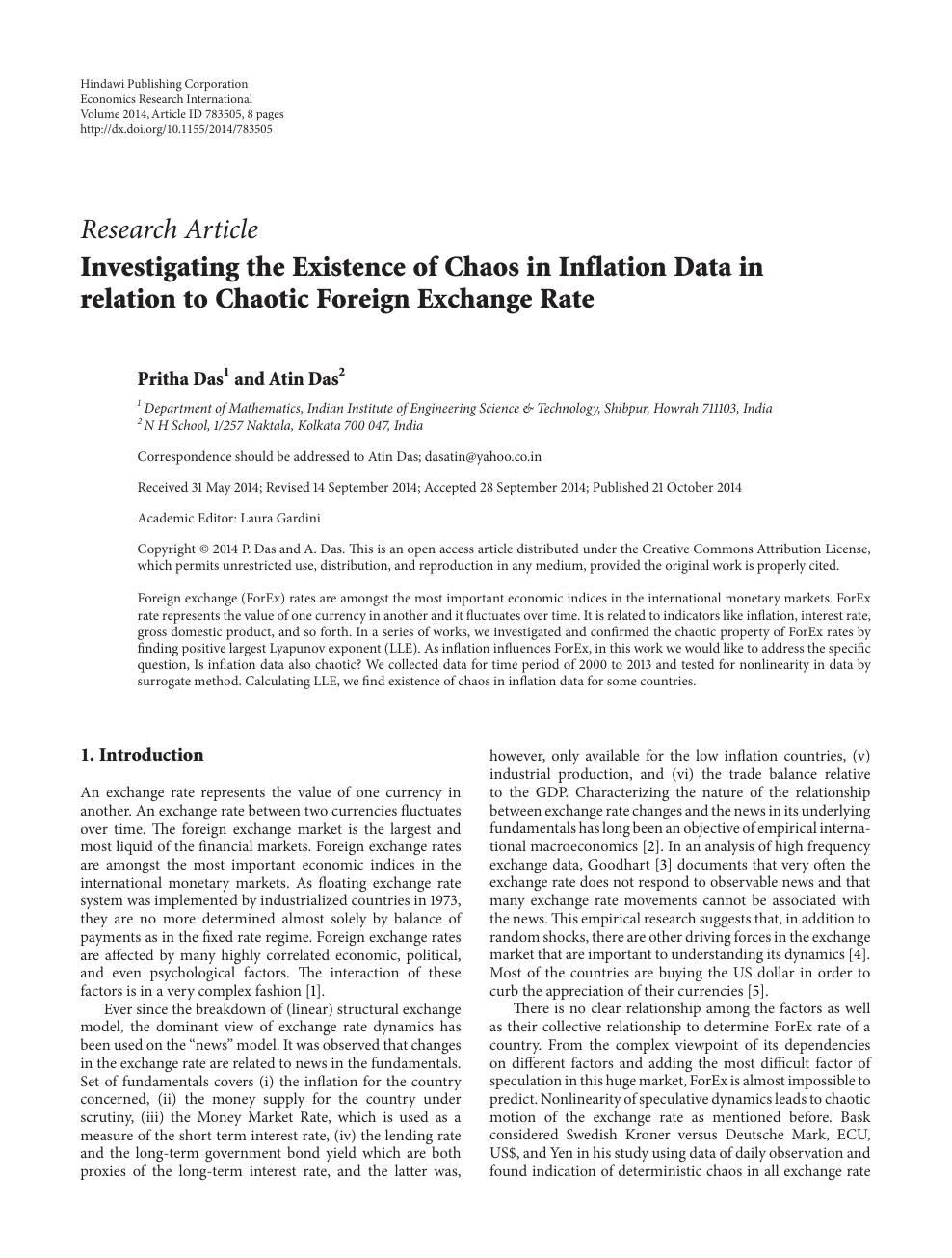 Investigating the Existence of Chaos in Inflation Data in