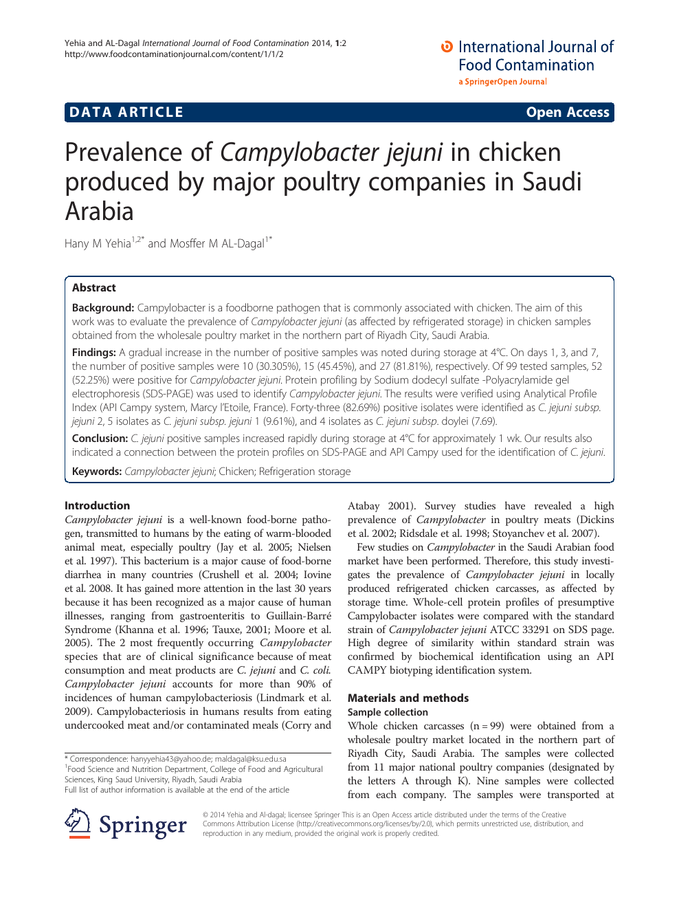 Prevalence of Campylobacter jejuni in chicken produced by
