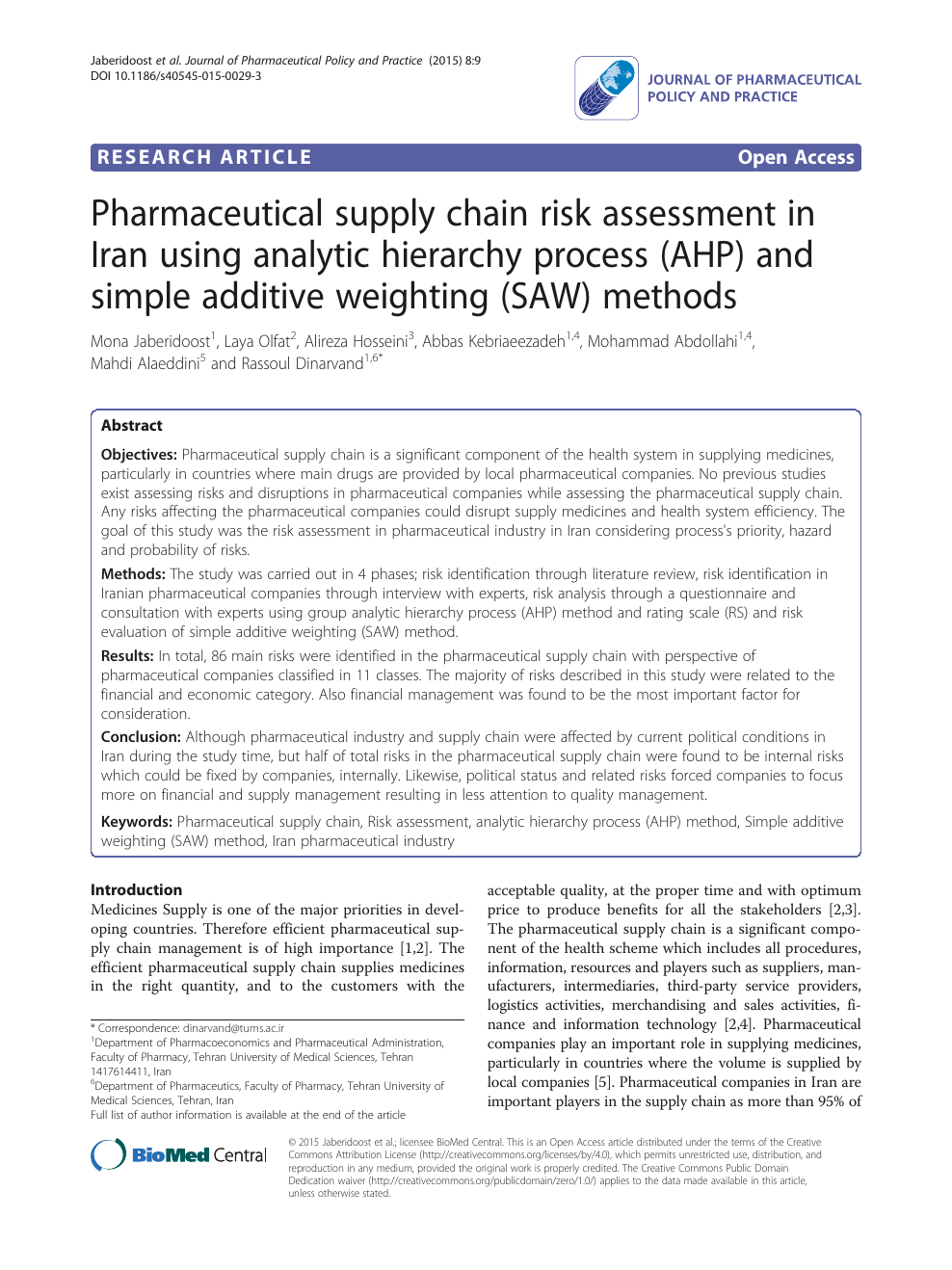 Pharmaceutical supply chain risk assessment in Iran using