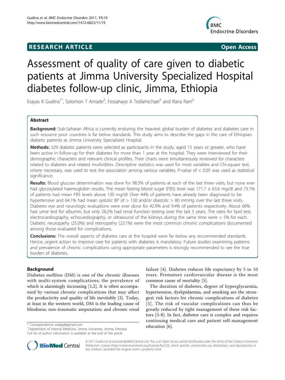 Assessment of quality of care given to diabetic patients at