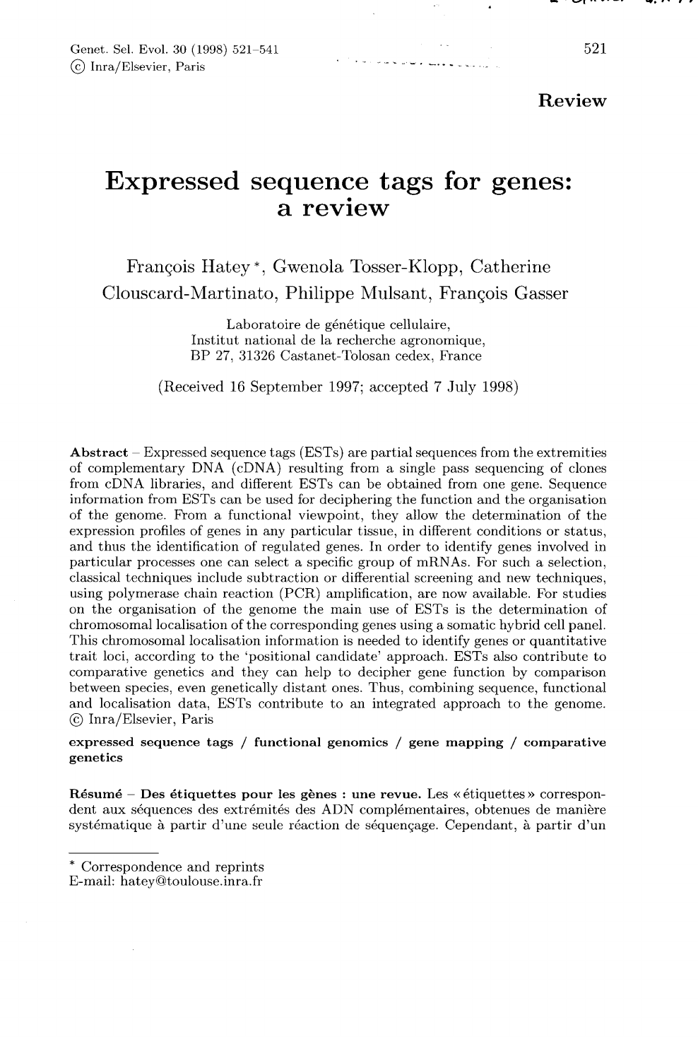 Separation Lame De Bois expressed sequence tags for genes: a review – topic of