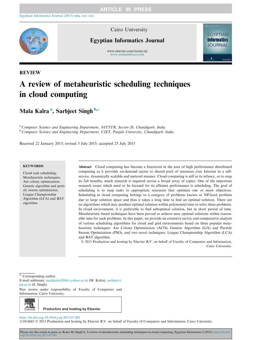 A review of metaheuristic scheduling techniques in cloud