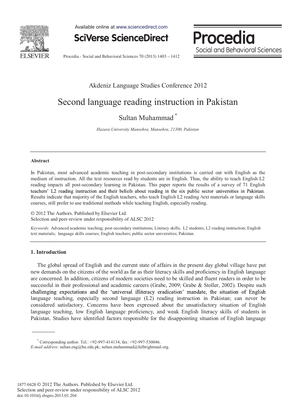 Second language reading instruction in Pakistan – topic of