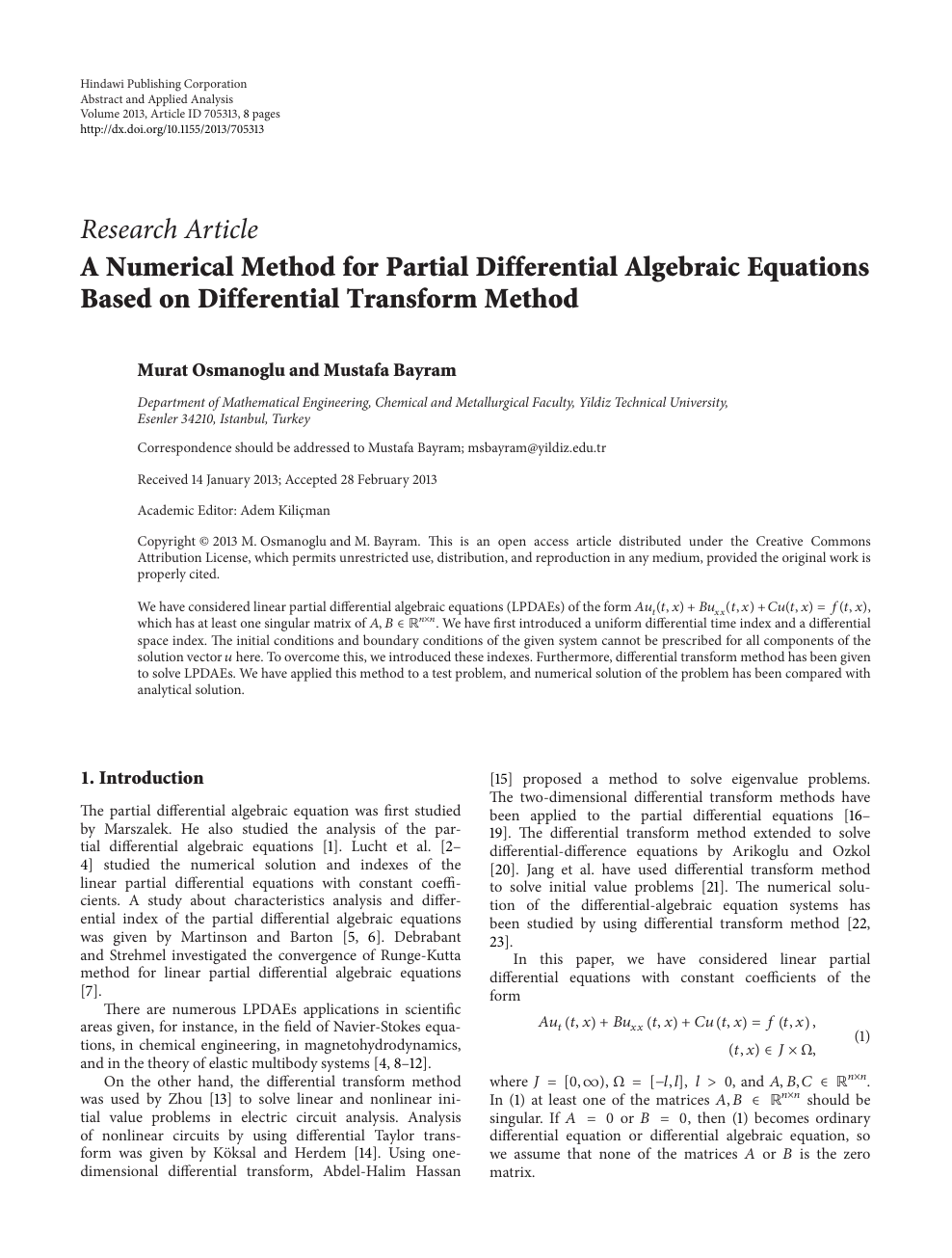 A Numerical Method for Partial Differential Algebraic