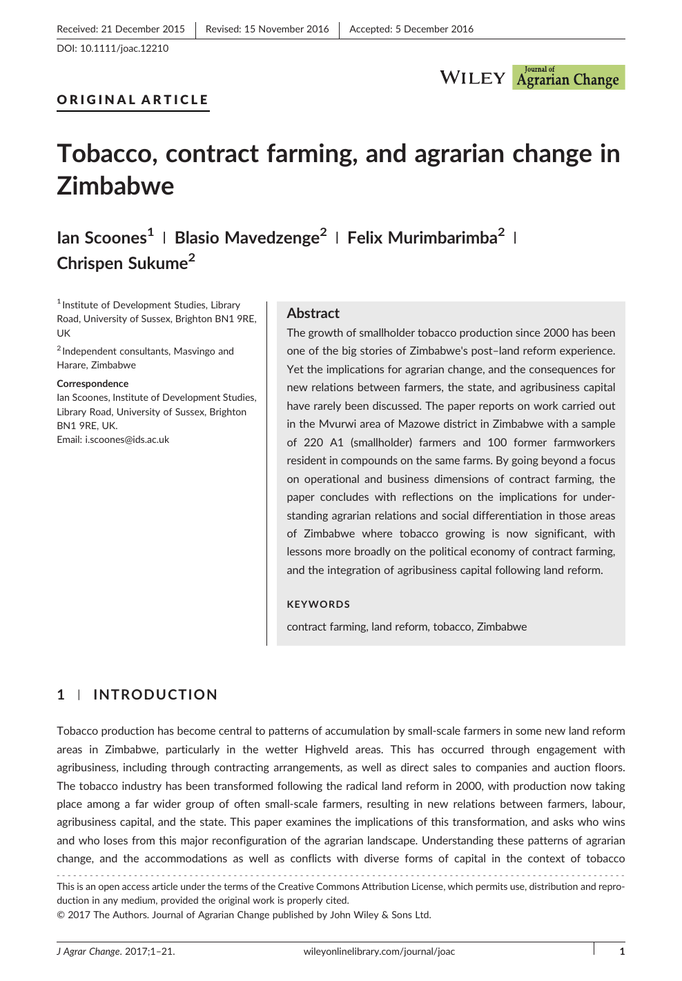 Tobacco, contract farming, and agrarian change in Zimbabwe