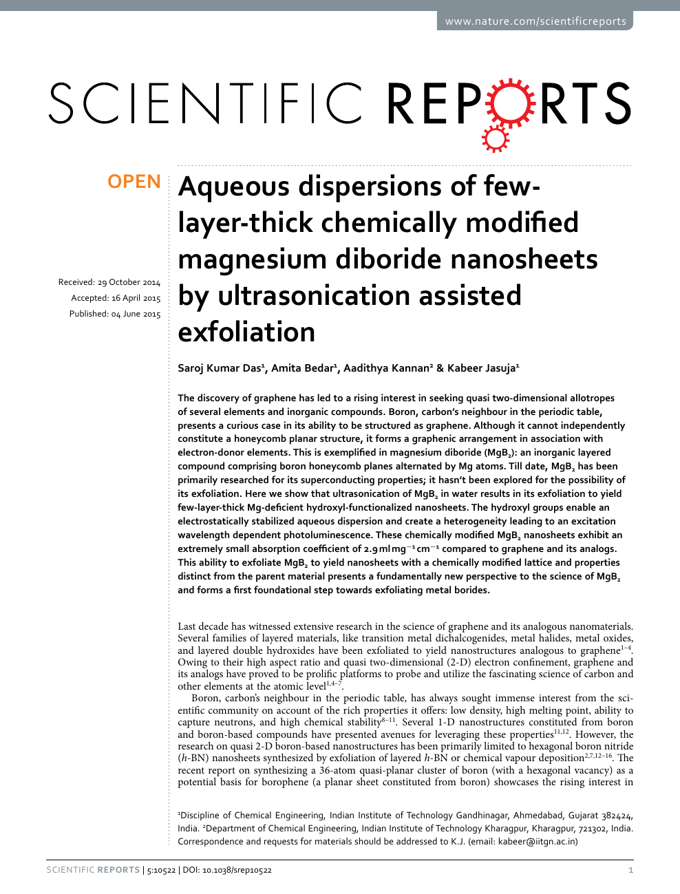 Aqueous dispersions of few-layer-thick chemically modified