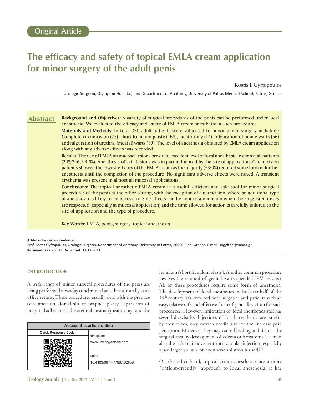 The Efficacy And Safety Of Topical Emla Cream Application For Minor