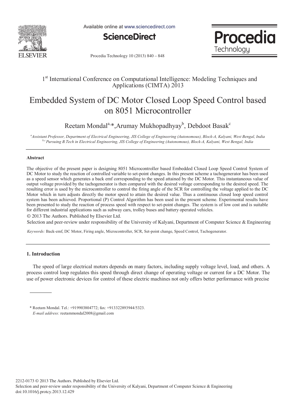 Embedded System of DC Motor Closed Loop Speed Control based
