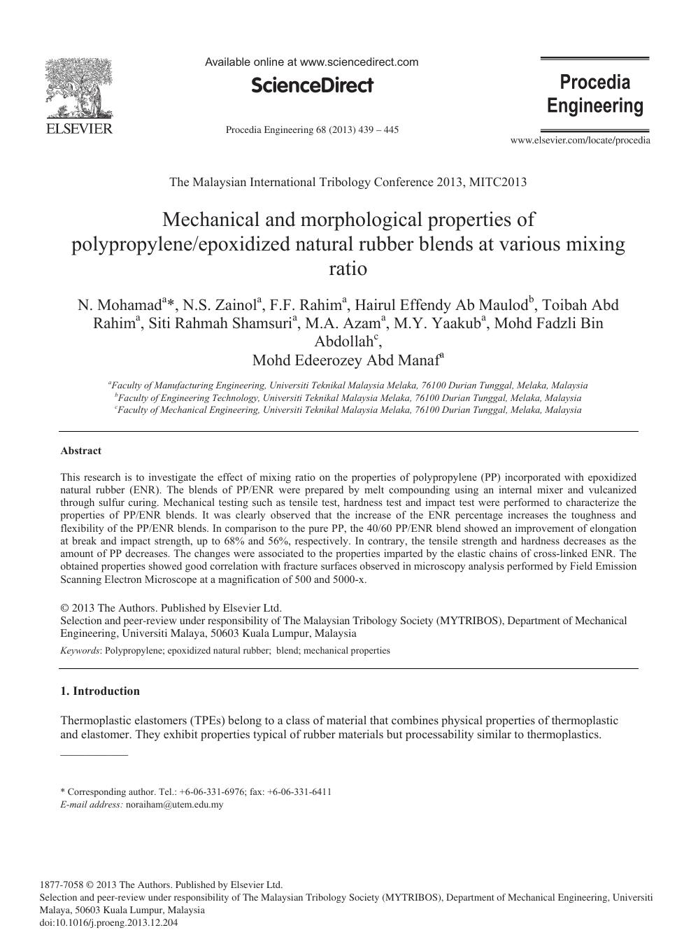 Mechanical and Morphological Properties of Polypropylene/Epoxidized