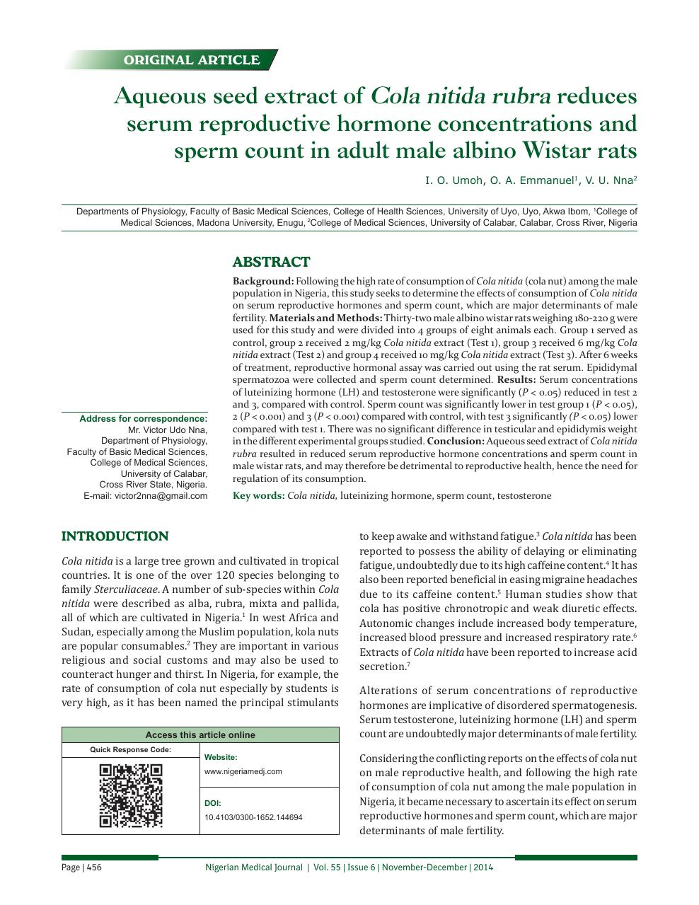 Aqueous seed extract of Cola nitida rubra reduces serum reproductive