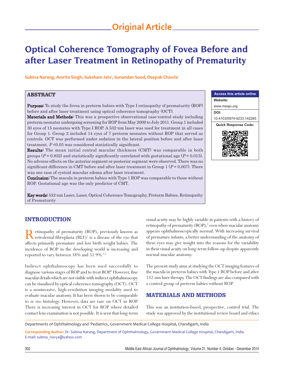 Optical coherence tomography of fovea before and after laser
