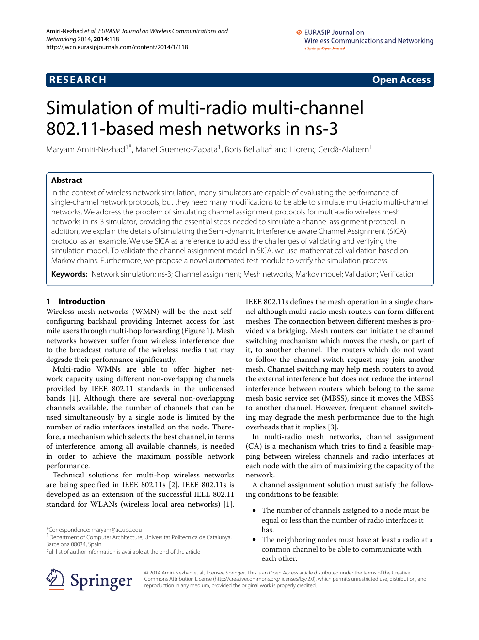 Simulation of multi-radio multi-channel 802 11-based mesh