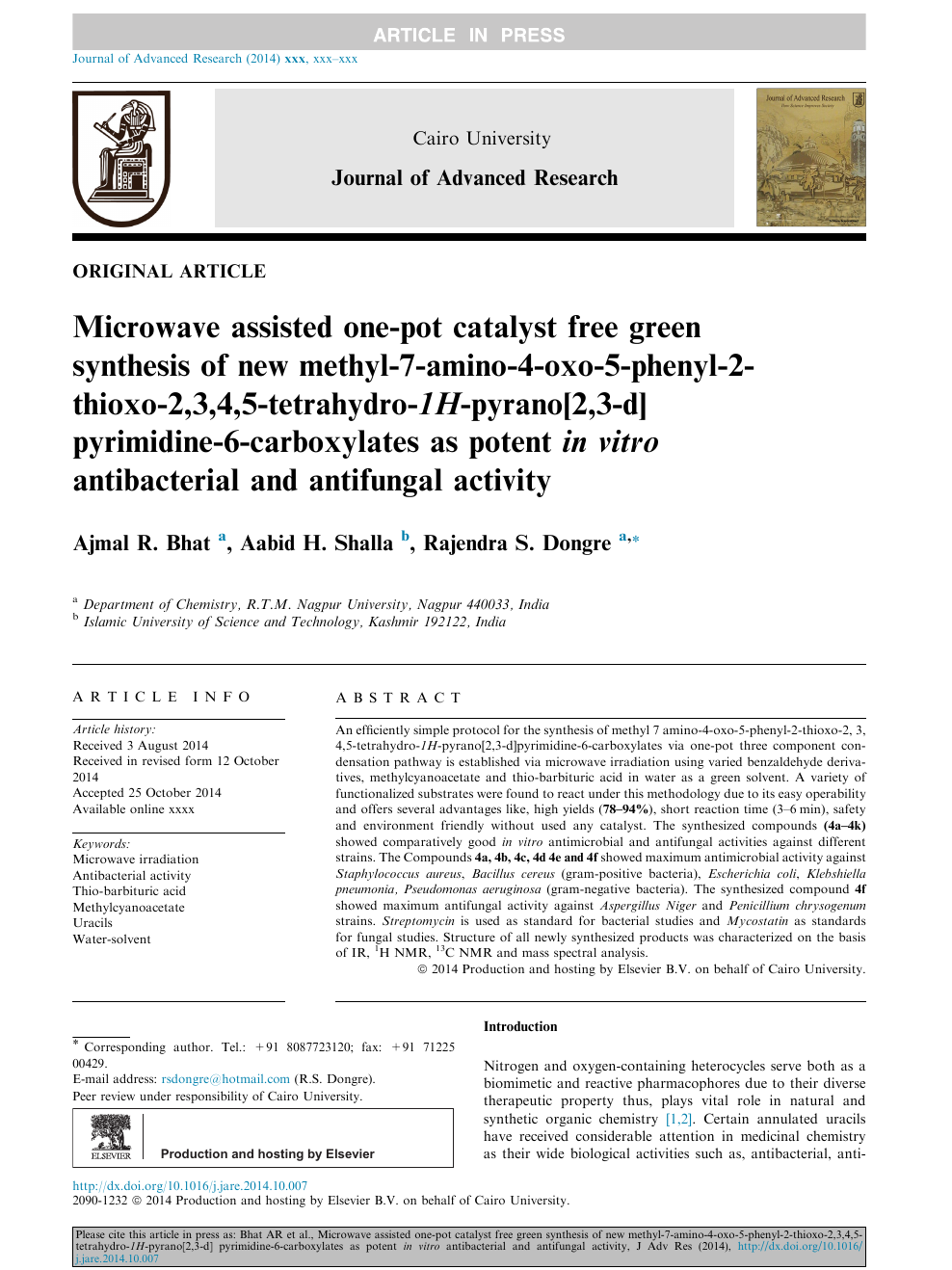 Microwave assisted one-pot catalyst free green synthesis of