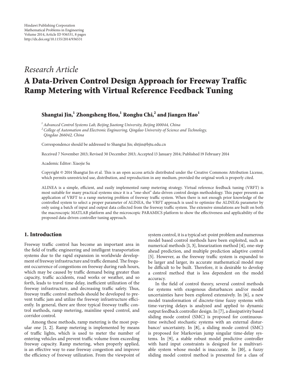 A Data-Driven Control Design Approach for Freeway Traffic Ramp