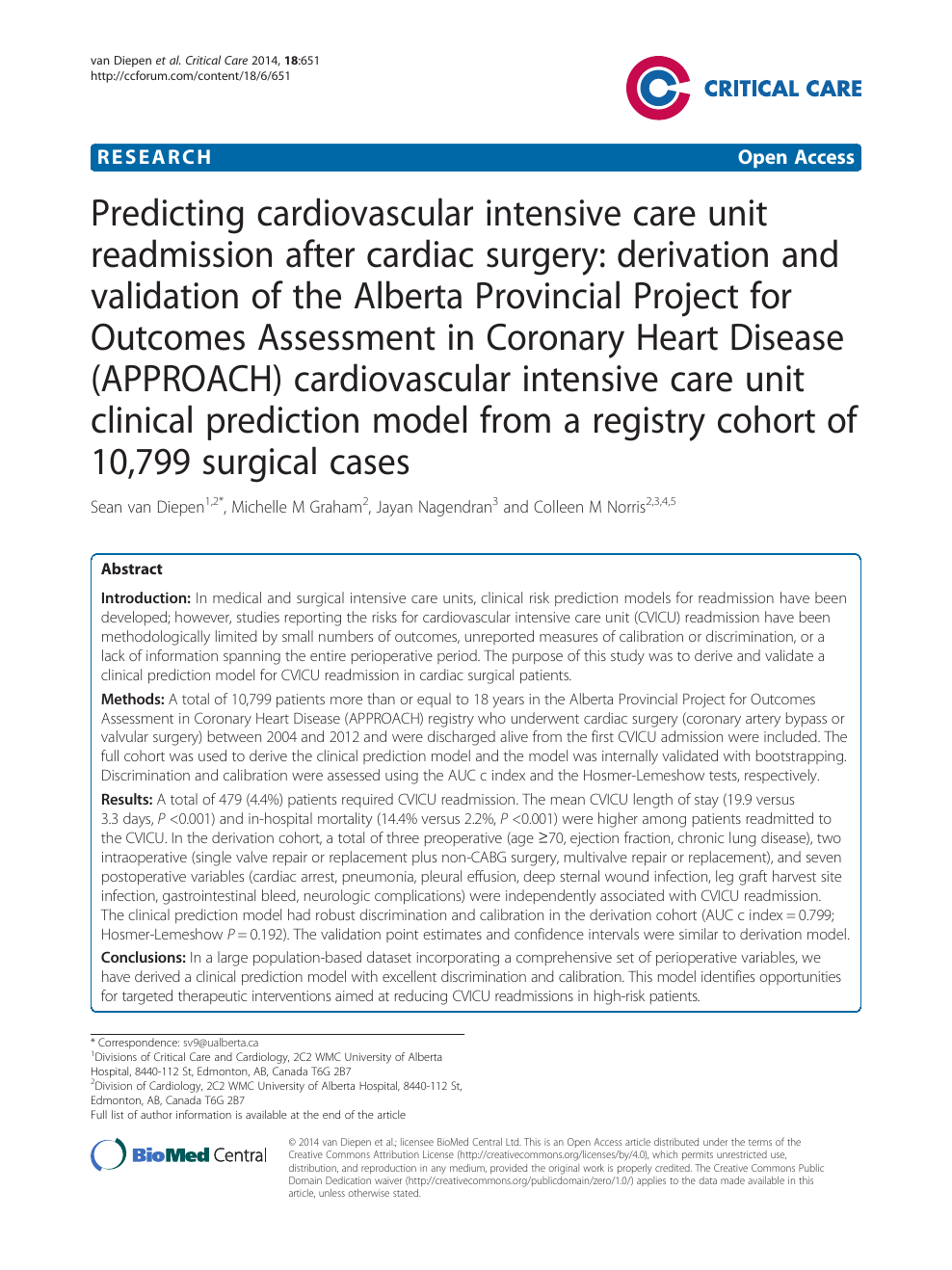 Predicting Cardiovascular Intensive Care Unit Readmission After Cardiac Surgery Derivation And Validation Of The Alberta Provincial Project For Outcomes Assessment In Coronary Heart Disease Approach Cardiovascular Intensive Care Unit Clinical