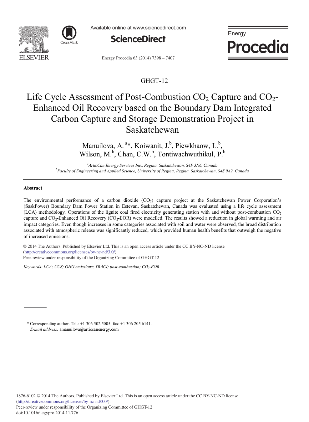 Life Cycle Assessment of Post-combustion CO2 Capture and CO2