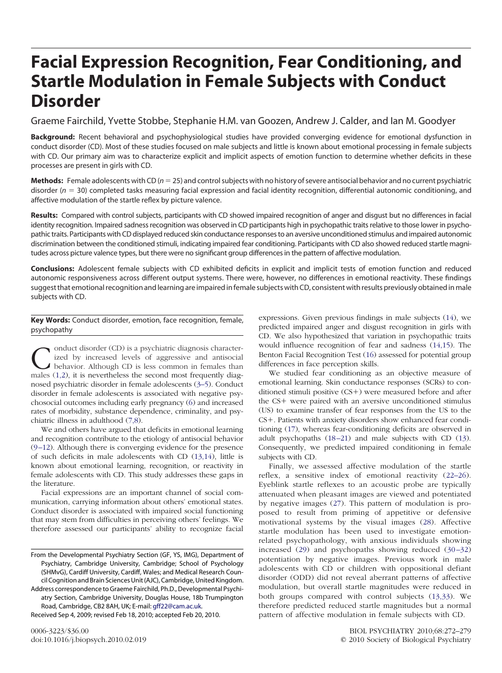 conduct disorder journal articles