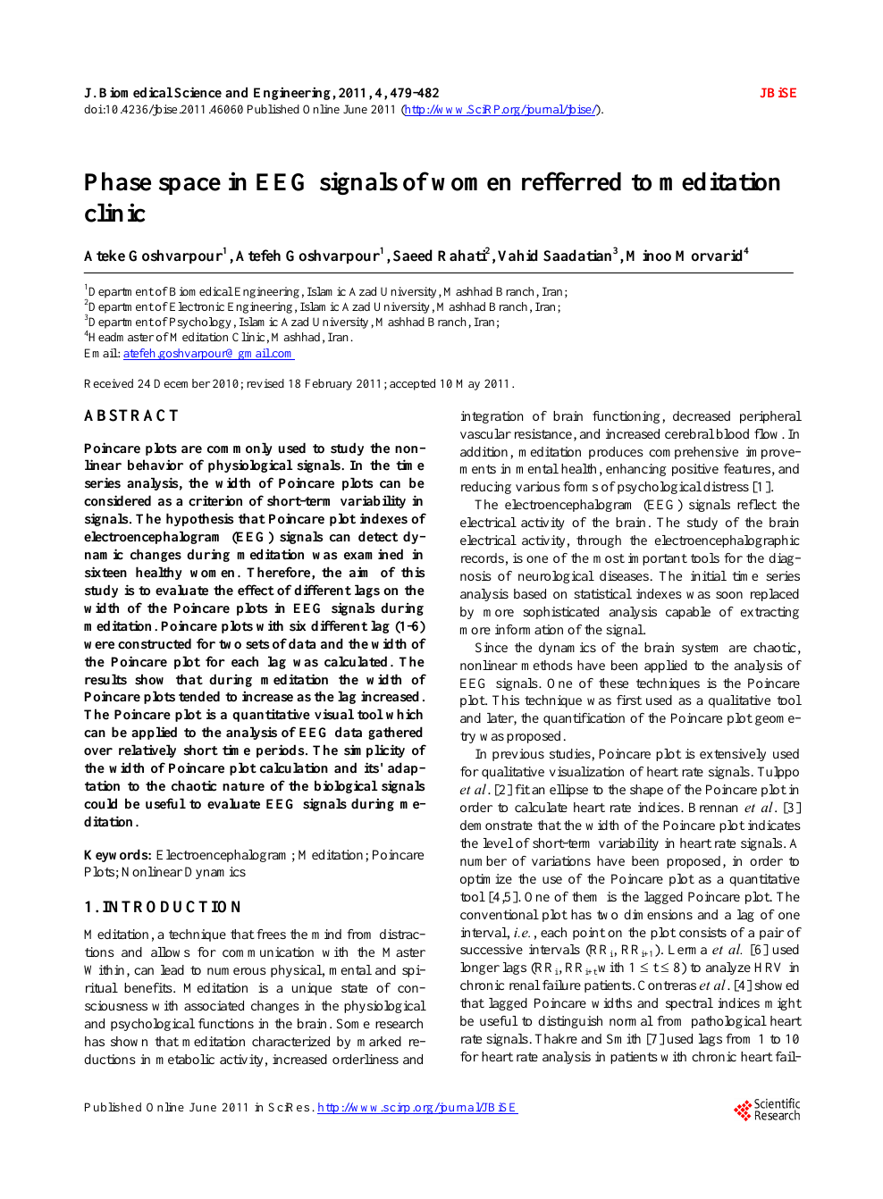 Phase space in EEG signals of women refferred to meditation