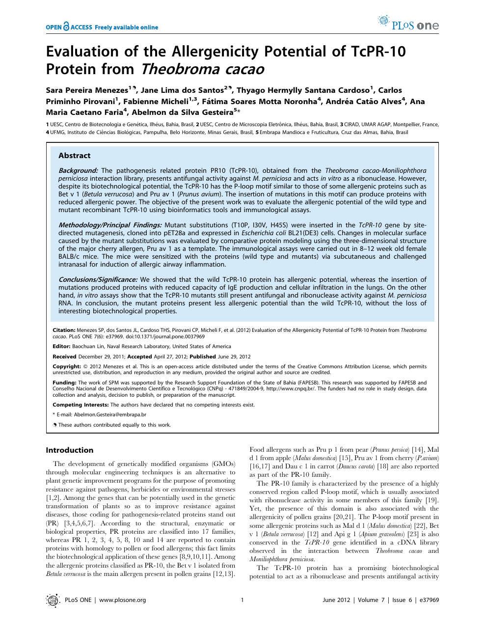 Evaluation of the Allergenicity Potential of TcPR-10 Protein