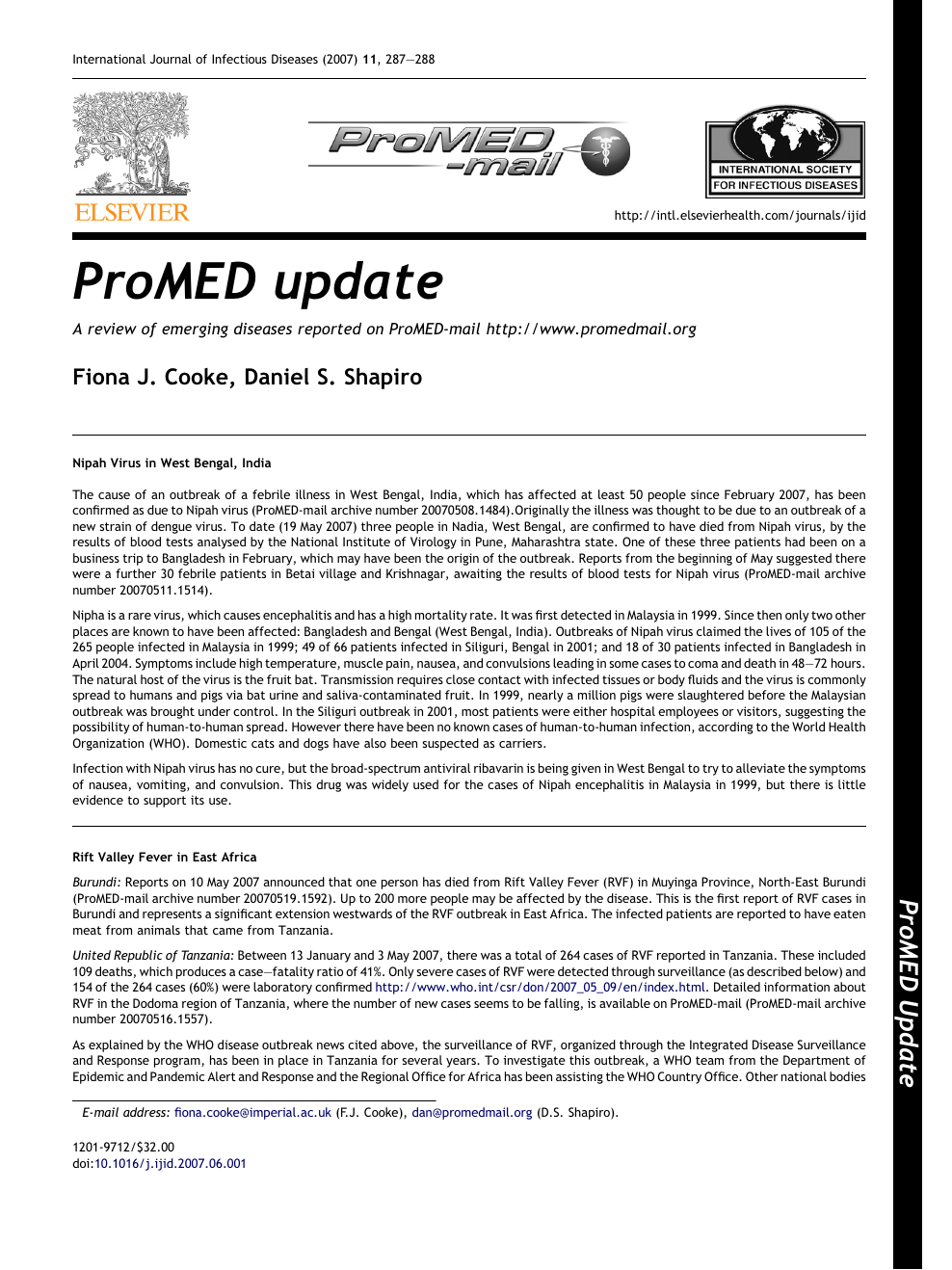 ProMED update – topic of research paper in Health sciences