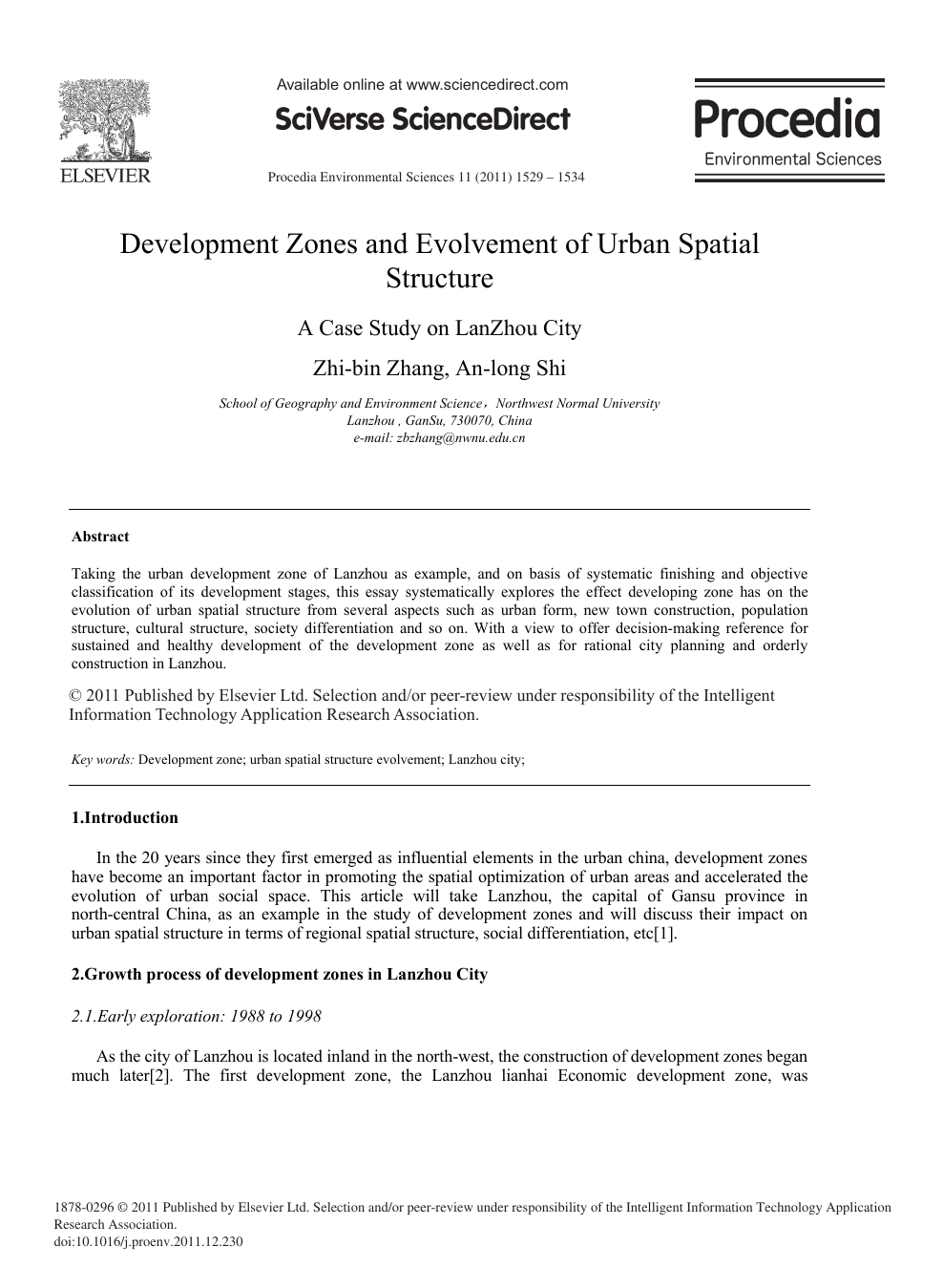 Development Zones and Evolvement of Urban Spatial Structure