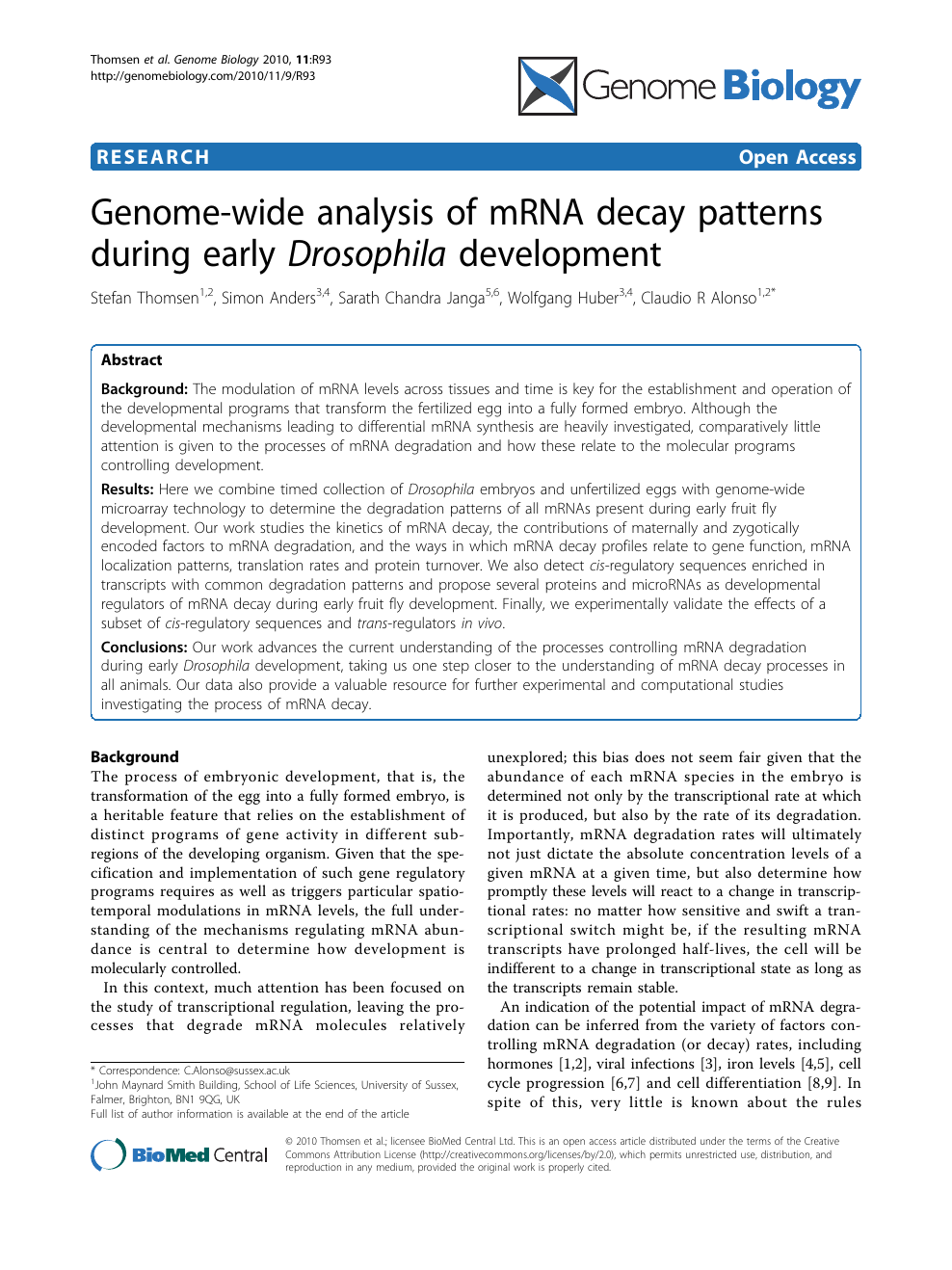 Genome-wide analysis of mRNA decay patterns during early