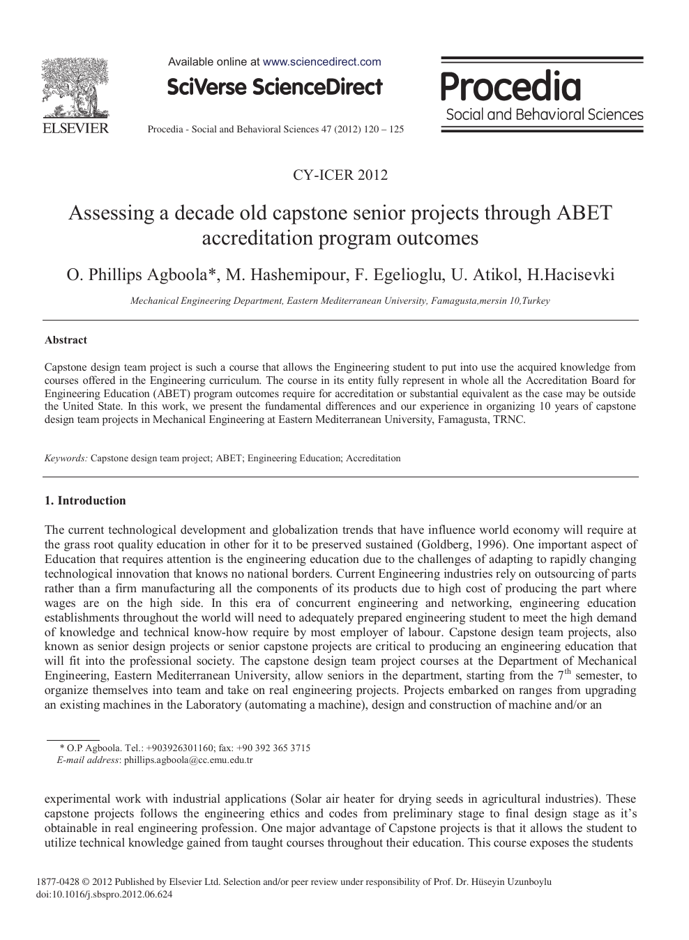 Assessing A Decade Old Capstone Senior Projects Through Abet Accreditation Program Outcomes Topic Of Research Paper In Educational Sciences Download Scholarly Article Pdf And Read For Free On Cyberleninka Open Science