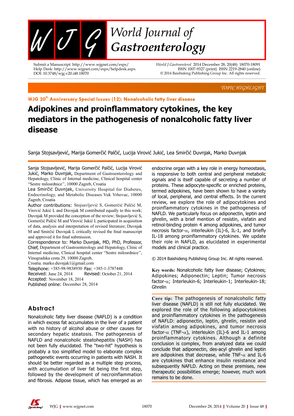 Adipokines and proinflammatory cytokines, the key mediators