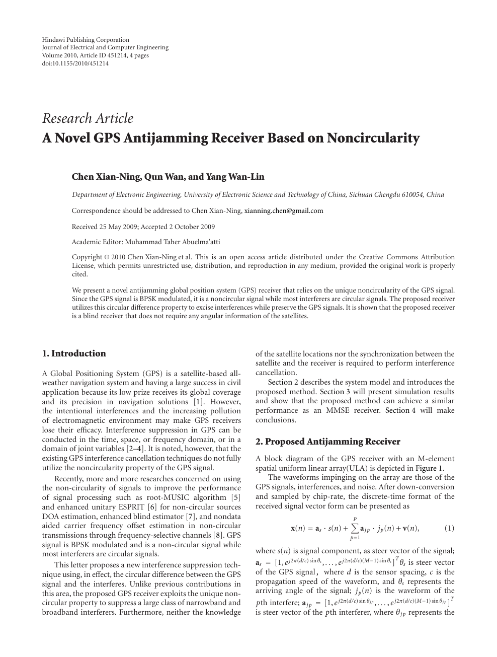 A Novel GPS Antijamming Receiver Based on Noncircularity