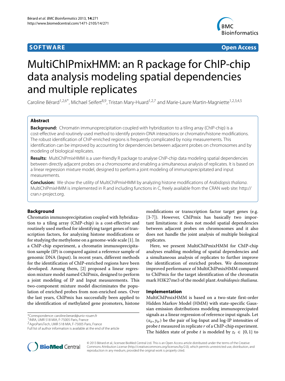 MultiChIPmixHMM: an R package for ChIP-chip data analysis