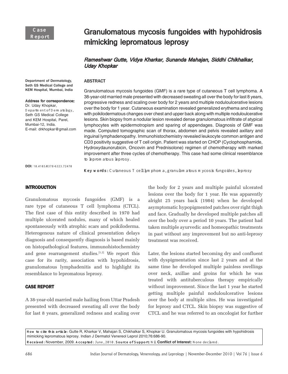 Granulomatous mycosis fungoides with hypohidrosis mimicking