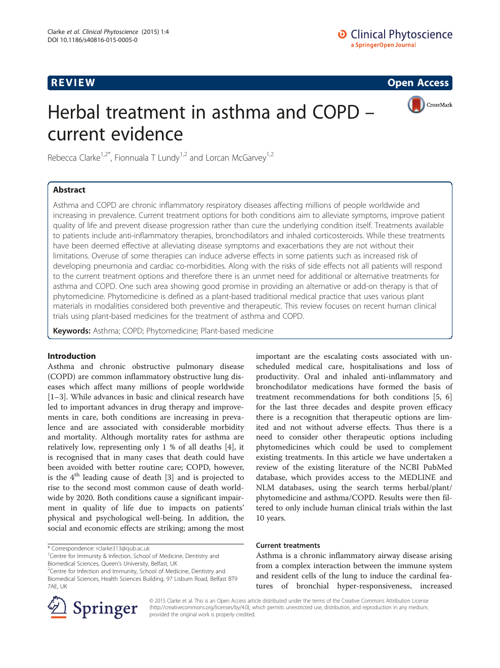 Herbal treatment in asthma and COPD – current evidence