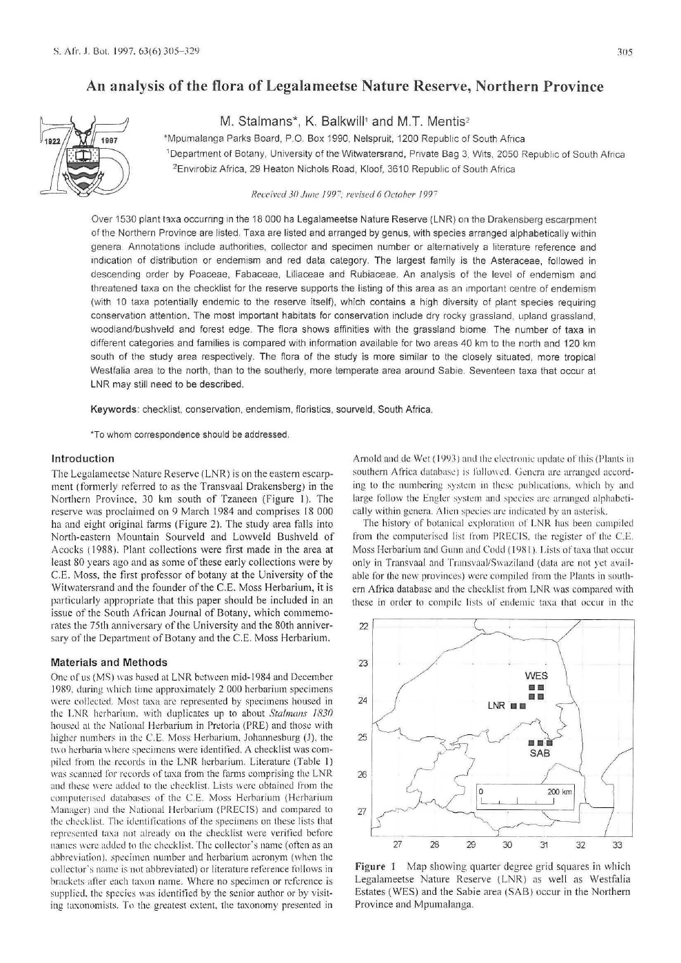 An analysis of the flora of Legalameetse Nature Reserve, Northern