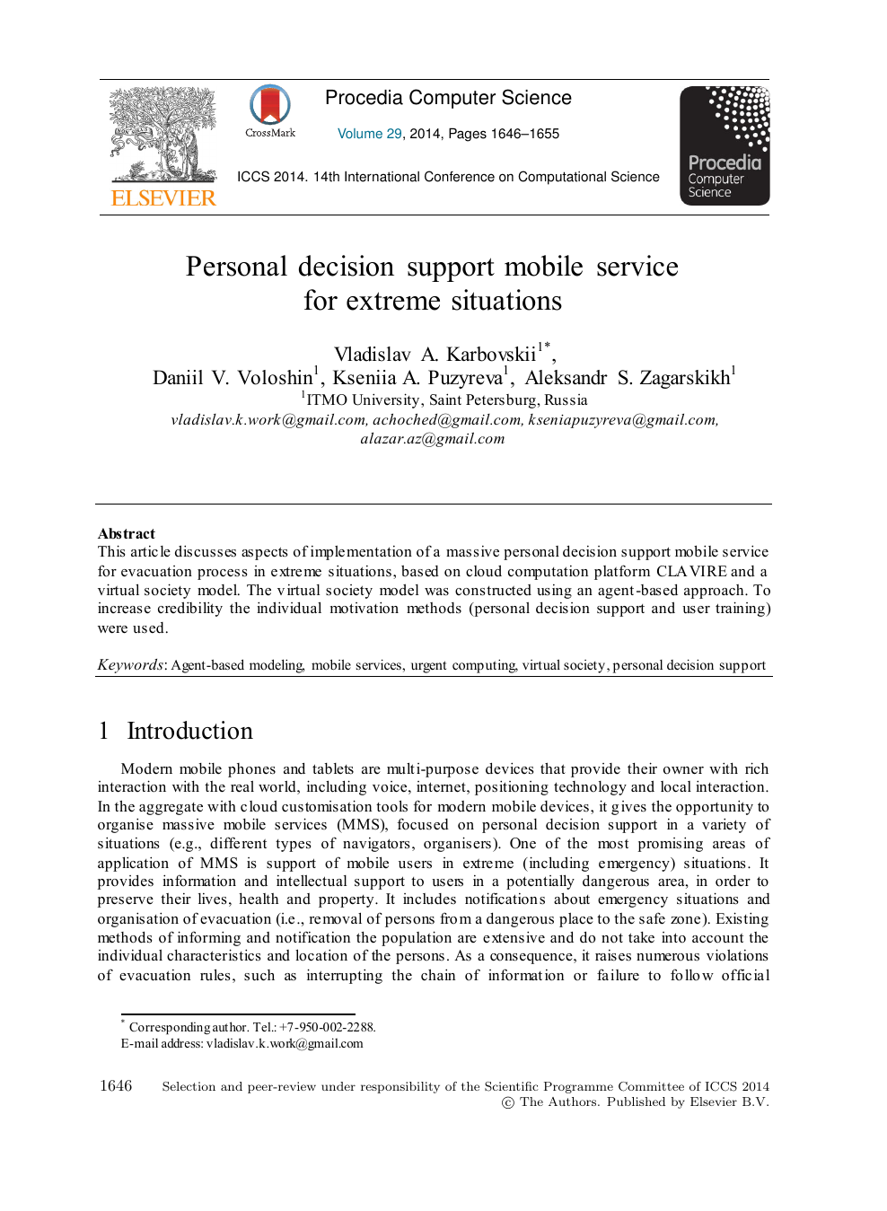 Personal Decision Support Mobile Service for Extreme