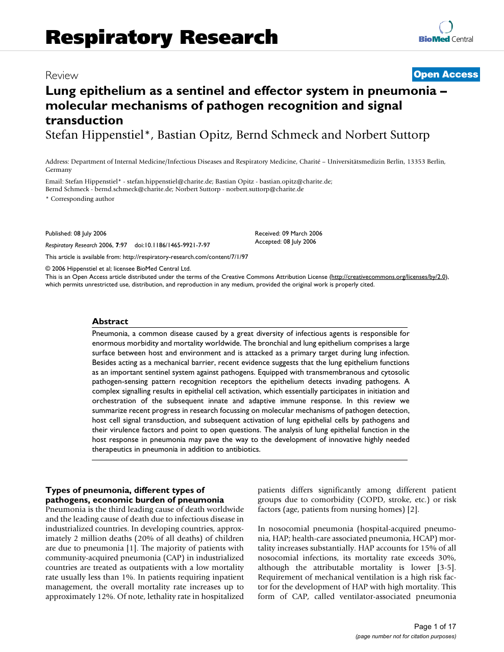 Lung Epithelium As A Sentinel And Effector System In
