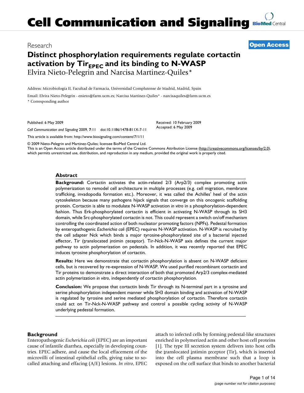 Distinct phosphorylation requirements regulate cortactin