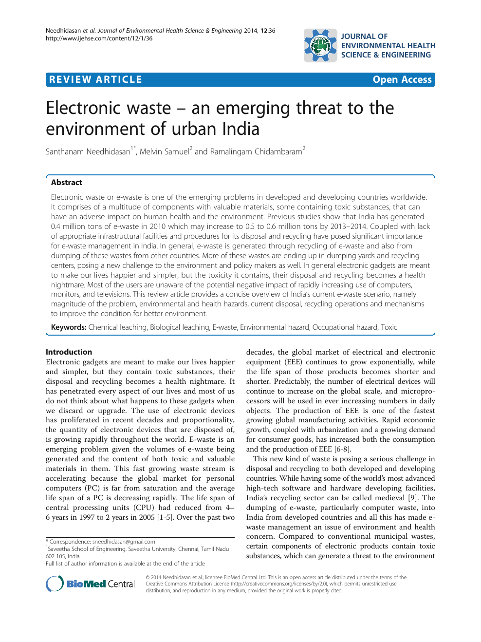 Electronic waste – an emerging threat to the environment of