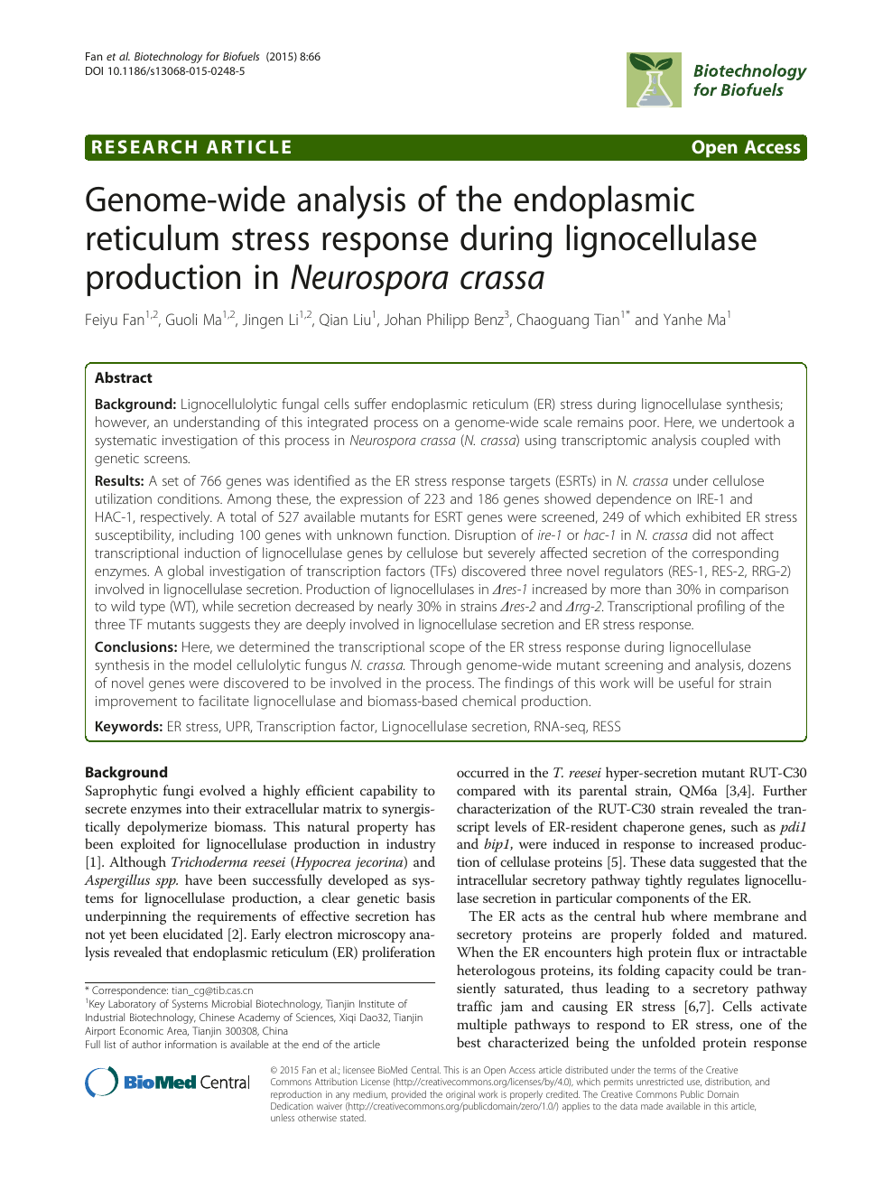 Genome-wide analysis of the endoplasmic reticulum stress