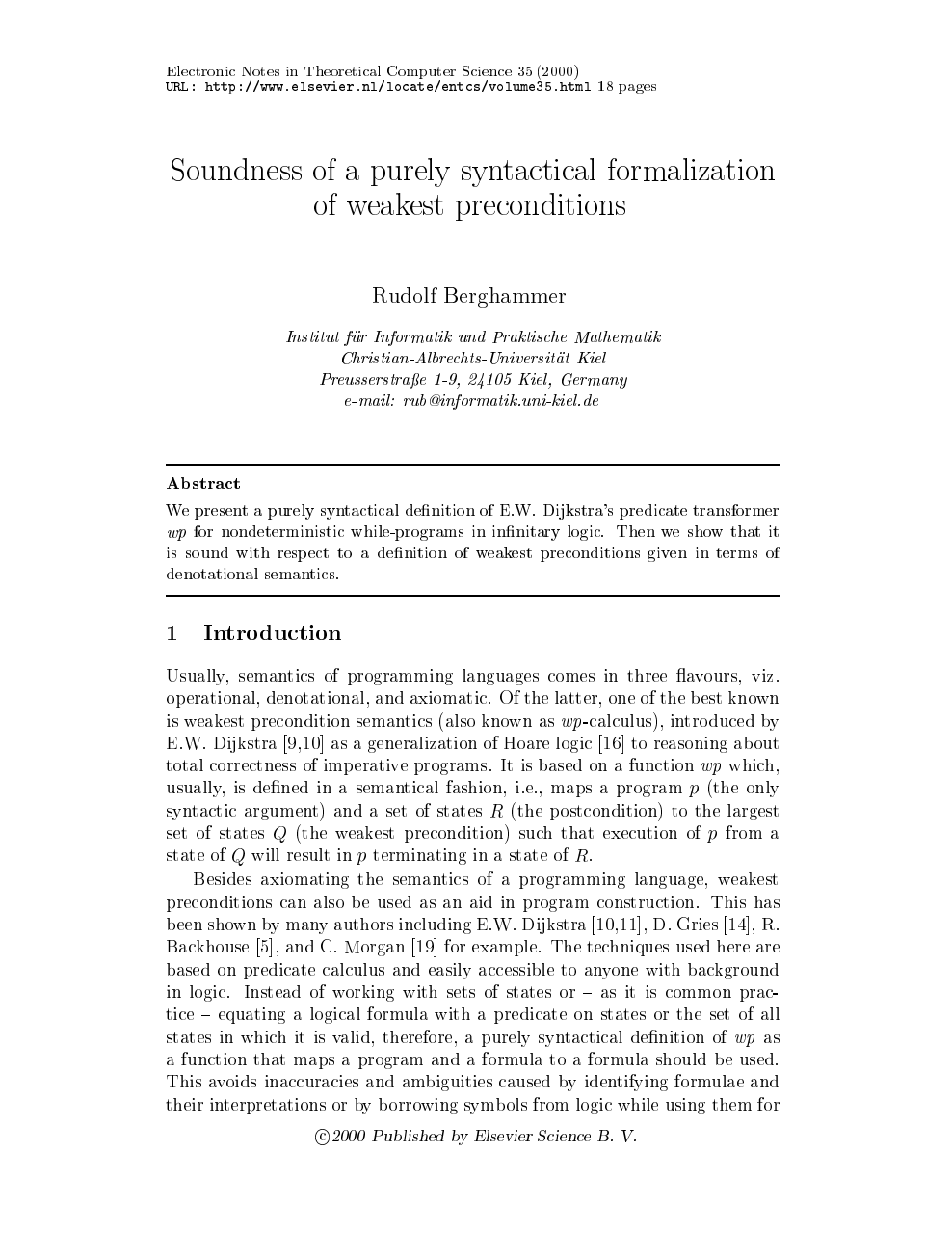 Soundness Of A Purely Syntactical Formalization Of Weakest