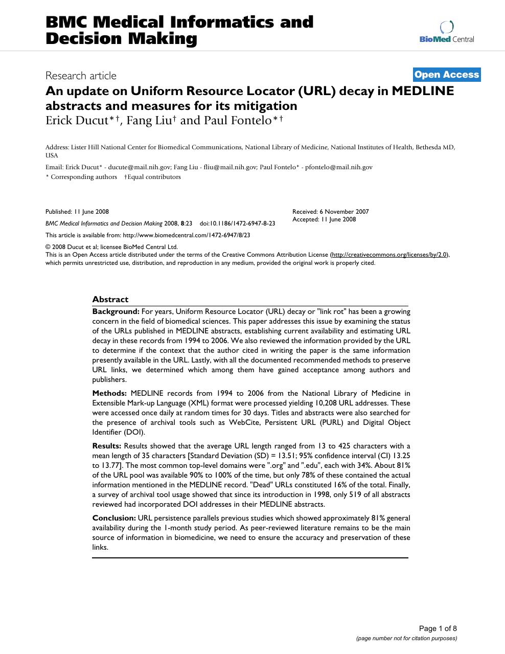 An update on Uniform Resource Locator (URL) decay in MEDLINE