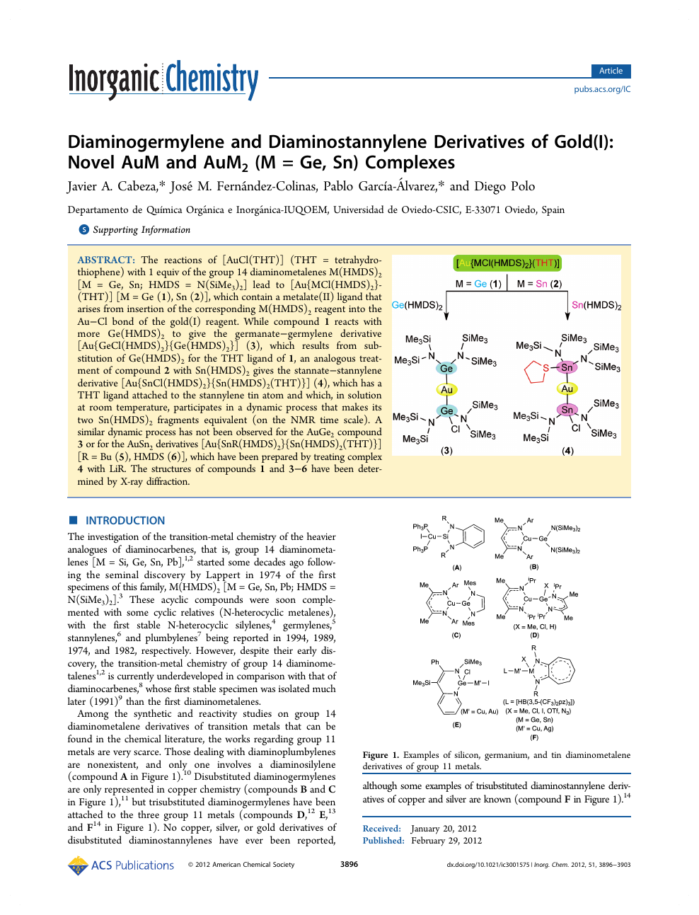 Diaminogermylene and Diaminostannylene Derivatives of Gold(I): Novel AuM  and AuM 2 (M = Ge, Sn) Complexes – topic of research paper in Chemical  sciences. Download scholarly article PDF and read for free