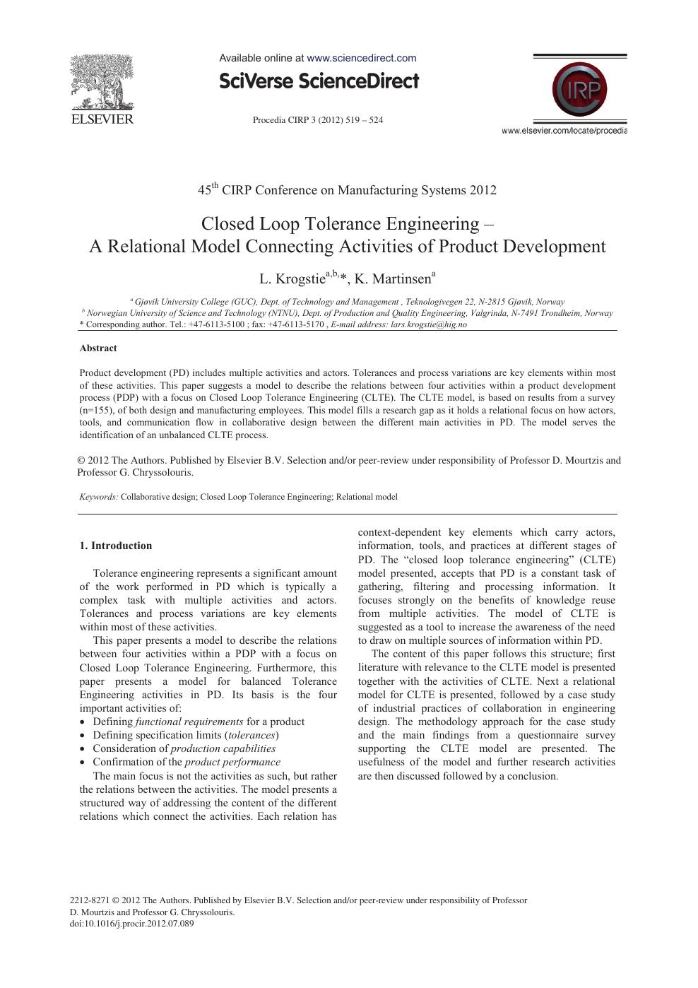 Closed Loop Tolerance Engineering – A Relational Model