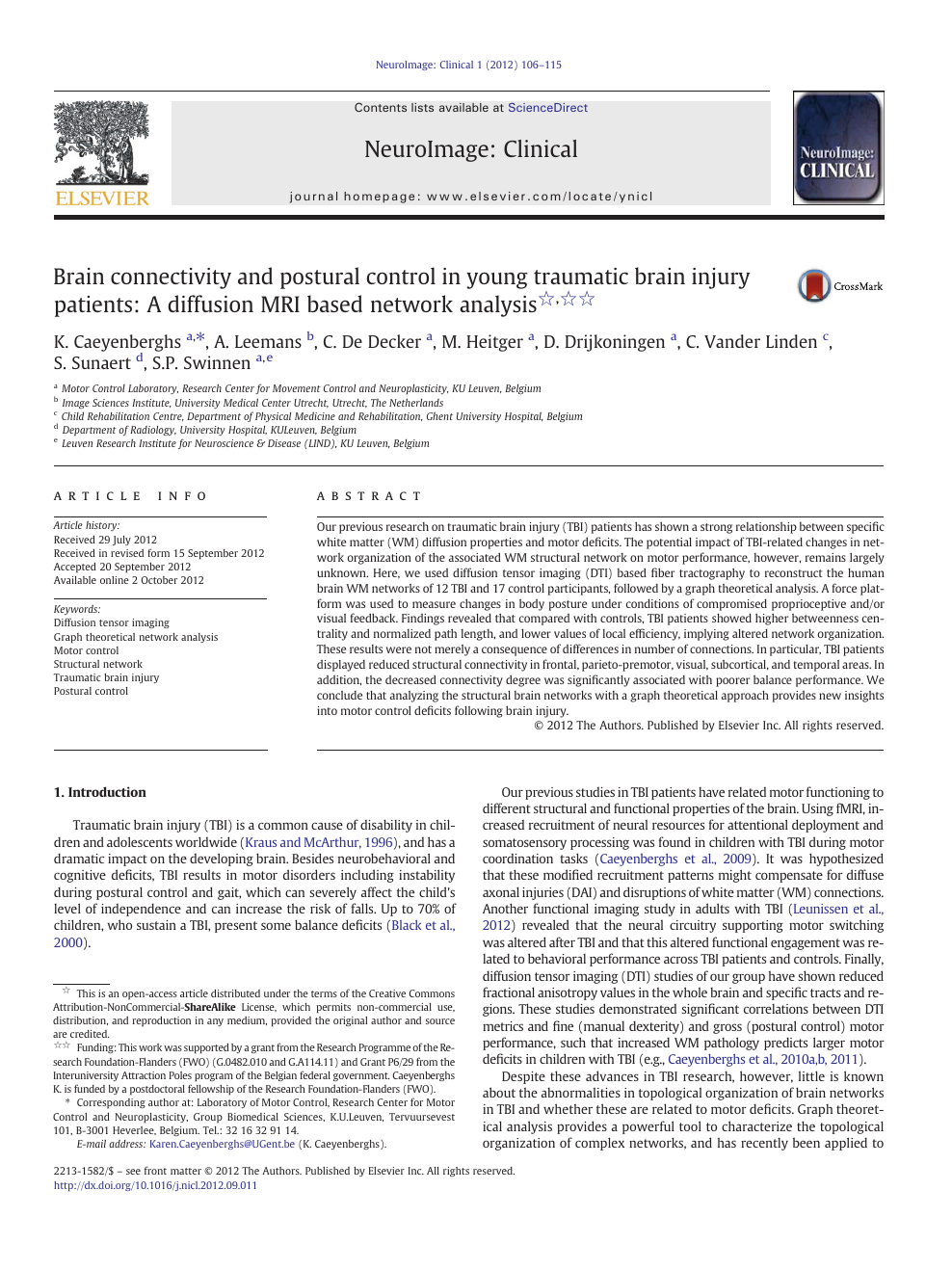 Brain connectivity and postural control in young traumatic