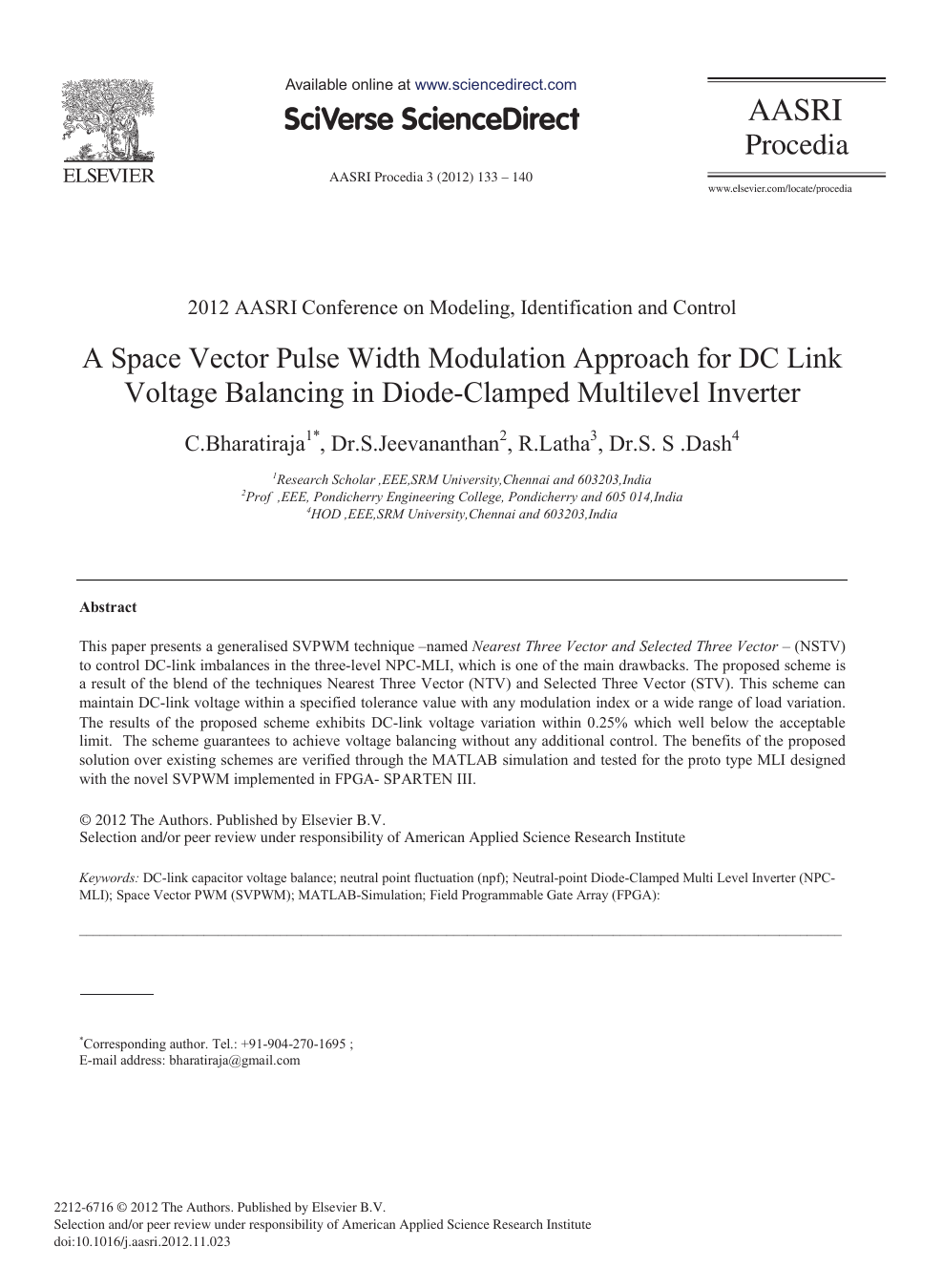 A Space Vector Pulse Width Modulation Approach for DC Link Voltage