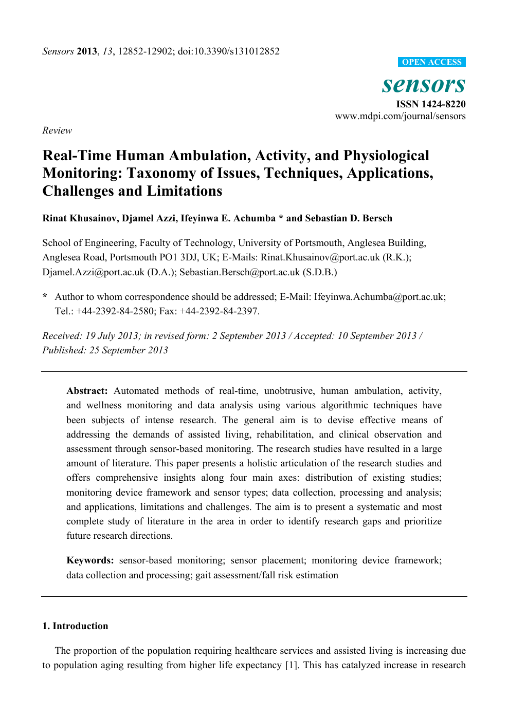 Real-Time Human Ambulation, Activity, and Physiological