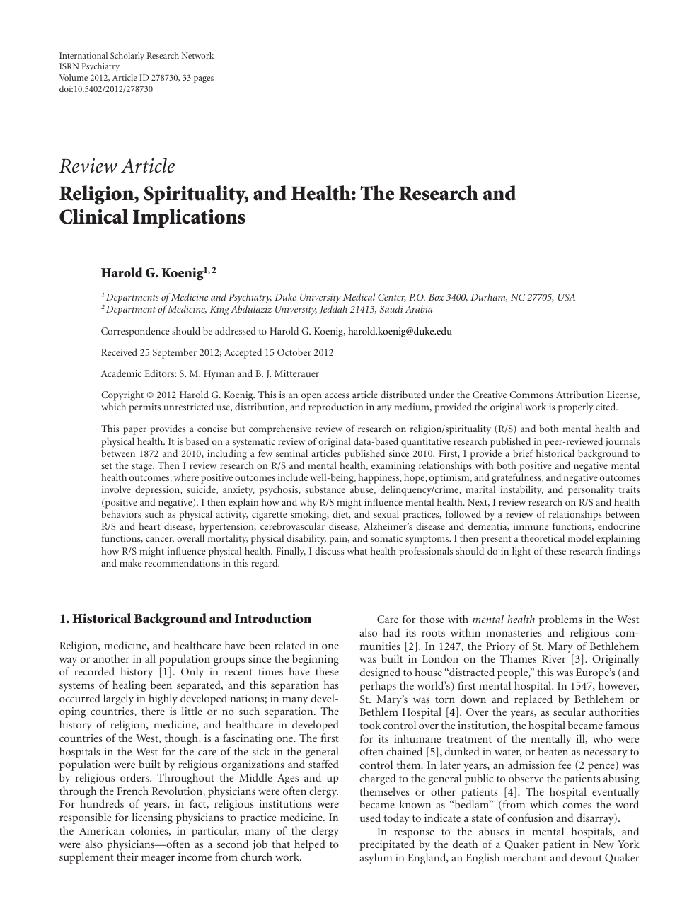 Religion, Spirituality, and Health: The Research and