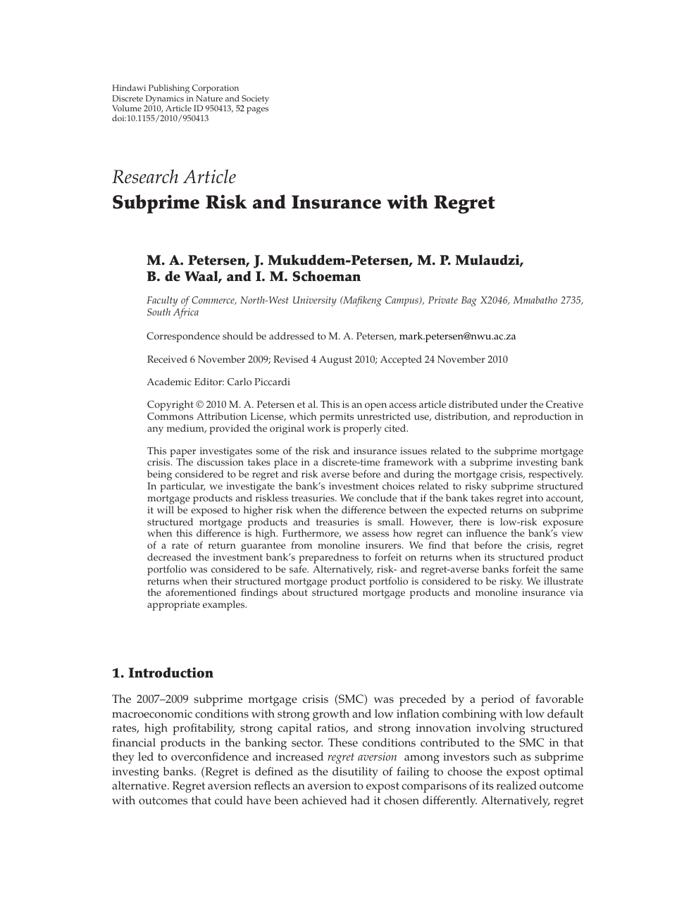 Subprime Risk and Insurance with Regret – topic of research